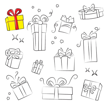Gift Box Collection. Easy to colorize Vector