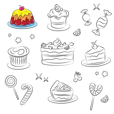 застекленный: Праздник сладостей и тортов Иллюстрация