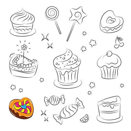 Holiday Sweets and Cakes  Vector