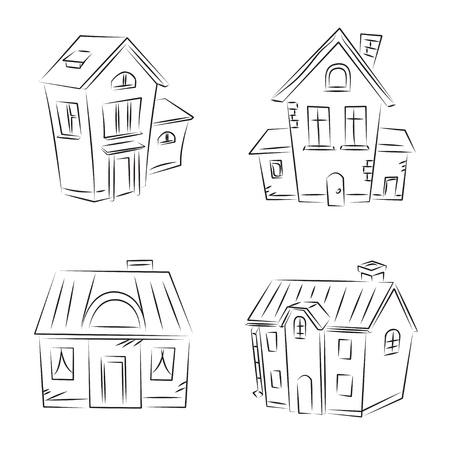"""modern huis: Set van vector schetsen """"Beautiful Houses"""" Stock Illustratie"""