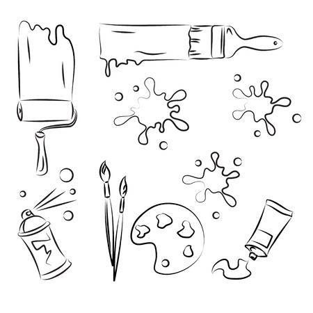 paint brush stroke: Painting tolls Vector Sketch Set