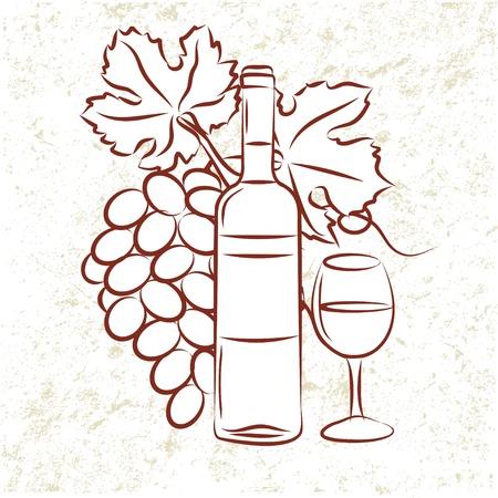 Bottiglia di vino e uva Vettoriali