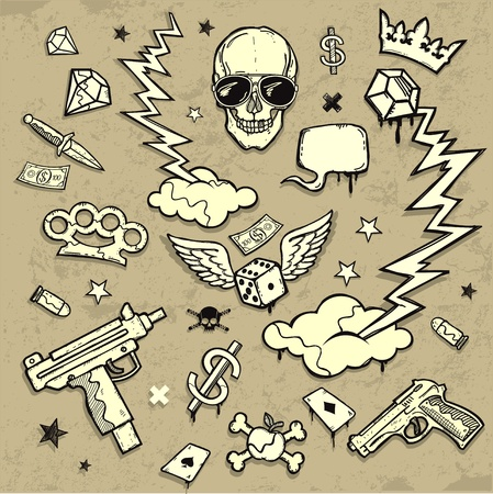skull and crown: Design Elements Illustration