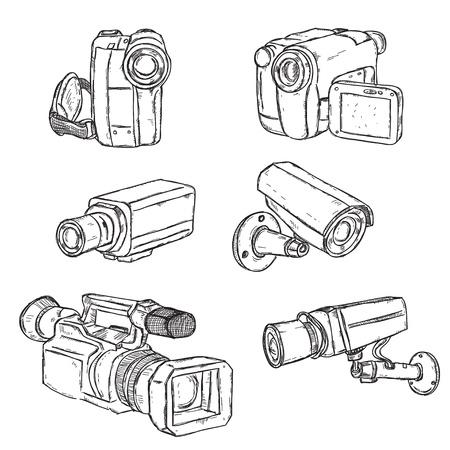 camera icon set: Video Cameras Illustration