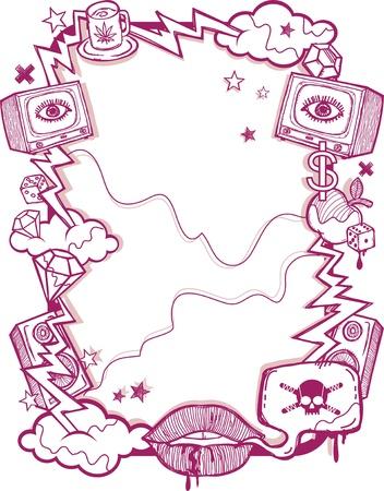 doodle art clipart: Grunge Poster