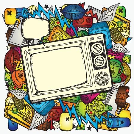 grafiti: Retro TÅ'o TV Ilustracja