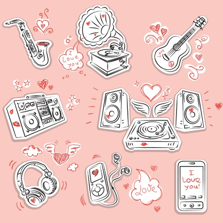 squiggles: Music instrument and equipment with romantic Valentines Day doodles