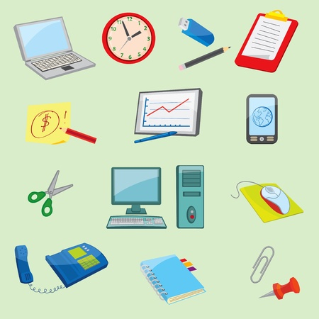 Colorful Office and Business icons Stock Vector - 11152740
