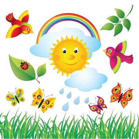 mariposa caricatura: Conjunto Primavera colorida Vectores