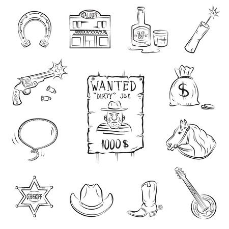 whiskey: Дикий Запад иконы. Коллекция стильных векторных изображений на тему Дикого Запада