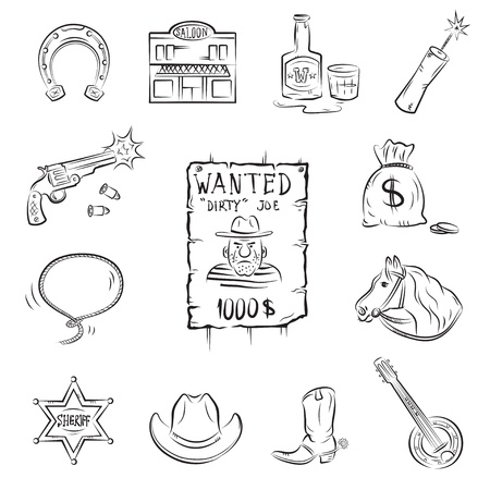 robberies: Wild West Icons. A collection of stylish vector images on the theme of the Wild West  Illustration