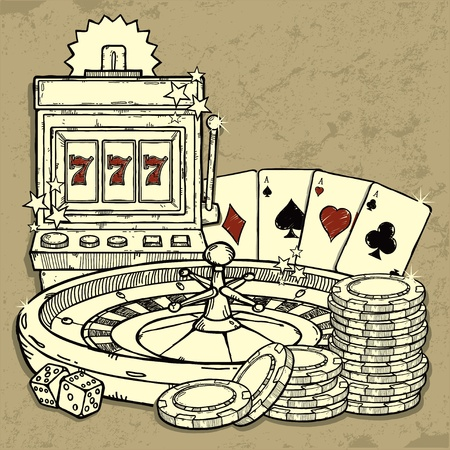 roulette table: Casino Background Illustration