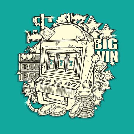 Vintage Slot  machine Illustration
