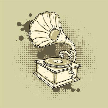 Hand-drawn gramophone on grunge background. Vector