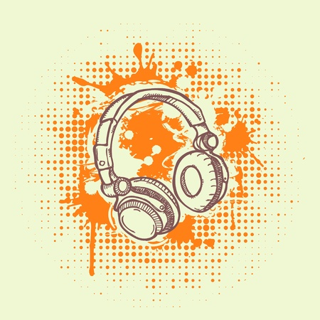 illustation of headphones on  grunge background Vector