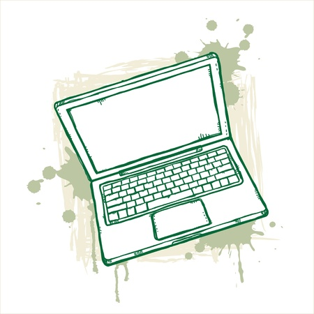 Hand-drawn laptop on grunge background Stock Vector - 13028037