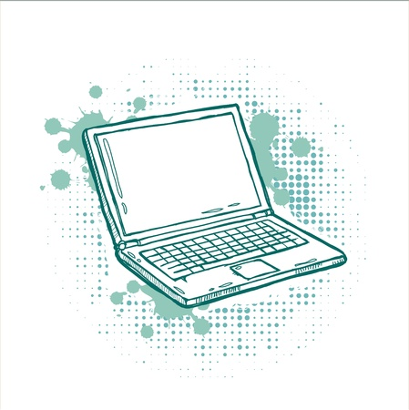 pc icon: Hand-drawn laptop on grunge background Illustration
