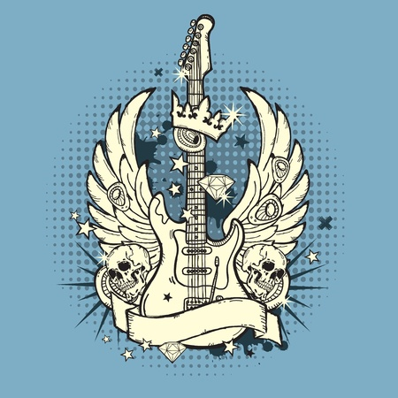 rock guitar: illustration of the rock n roll guitar on the grunge backgroun Illustration