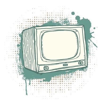 vieze handen: Illustratie van de hand-drawn retro TV-toestel op de grunge achtergrond. Stock Illustratie