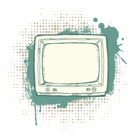 Illustration of the Hand-drawn retro TV set on the grunge background. Vector