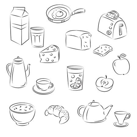 produits céréaliers: Dessinez la nourriture Clipart petit déjeuner Set Illustration