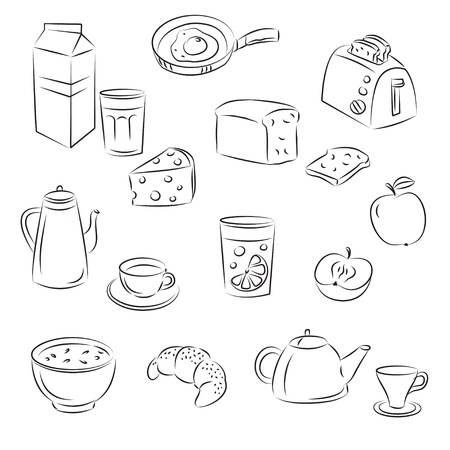 cereal bowl: Sketch Clipart Set  Breakfast food