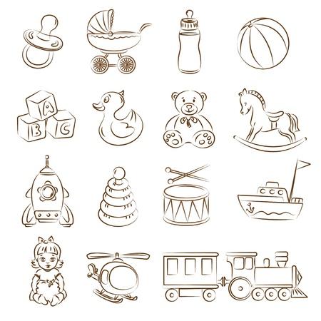 Illustrazione di giocattoli per bambini Vettoriali
