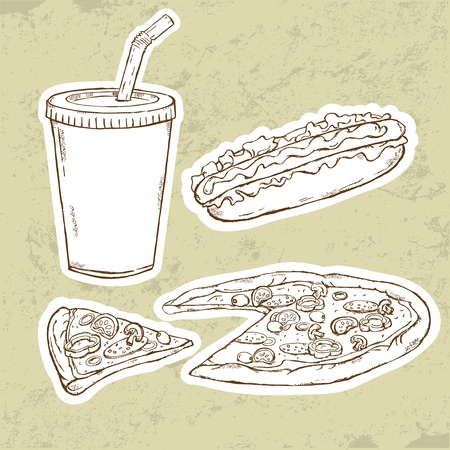 Pizza and Hot Dog  Vector