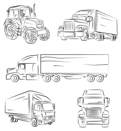 mode of transport: Camiones y camiones Vectores