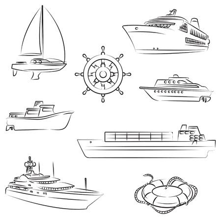 steuerruder: Schiffe und Boote Illustration