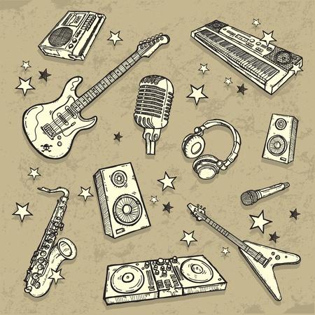 baile hip hop: La colecci�n de instrumentos musicales Vectores