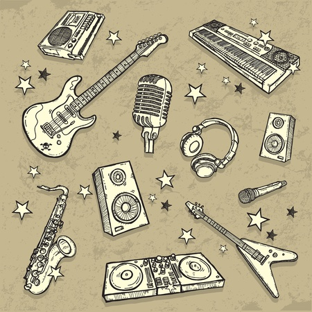 The collection of musical instruments