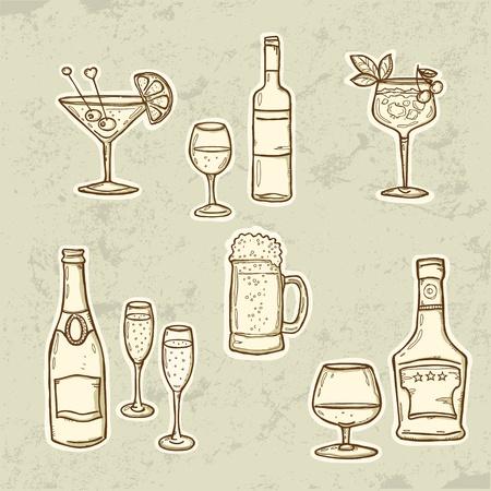 botella de licor: Bebidas con alcohol iconos conjunto