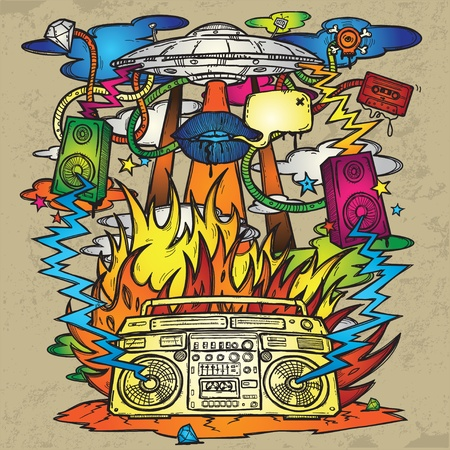 Music Background  Stylish grunge background on the music theme  The image consists of a UFO, a boom box, the flames, fire, explosion, loudspeakers   Vector