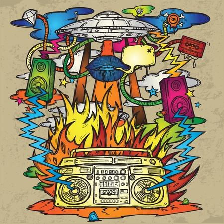 boite a musique: Musique de fond grunge �l�gant sur le th�me de la musique L'image se compose d'un OVNI, une bo�te de perche, les flammes, incendie, explosion, haut-parleurs Illustration