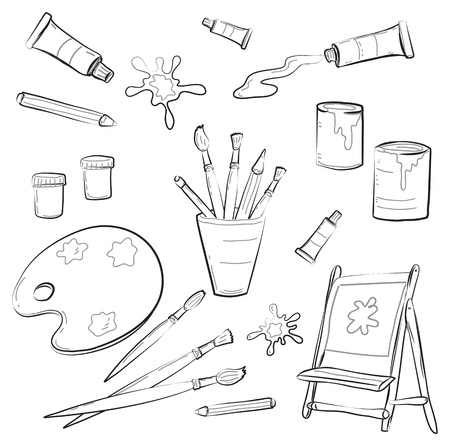 wood craft: Atrists Tools  Illustration