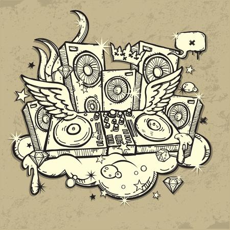 graffiti: Esp�ritu de DJ s Vectores