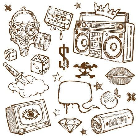 audio cassette: Set of Grunge Design Elements