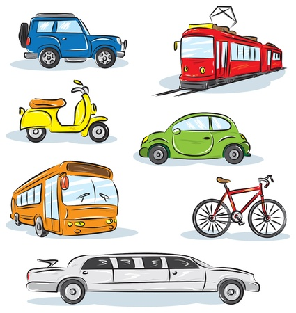 transportation silhouette: City Transport icons Set  Illustration