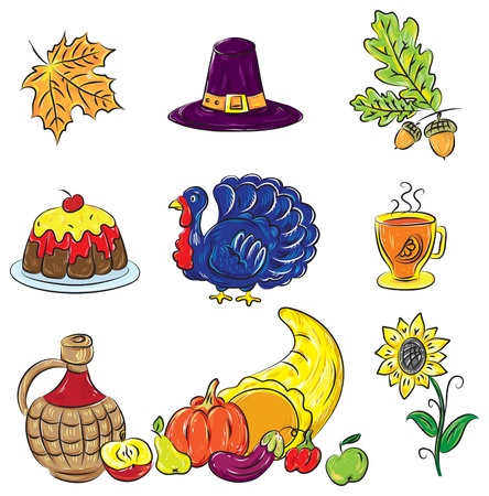 Colorful Thanksgiving Set  Vector