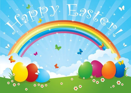 Easter Eggs in Rainbow Colors  Vector