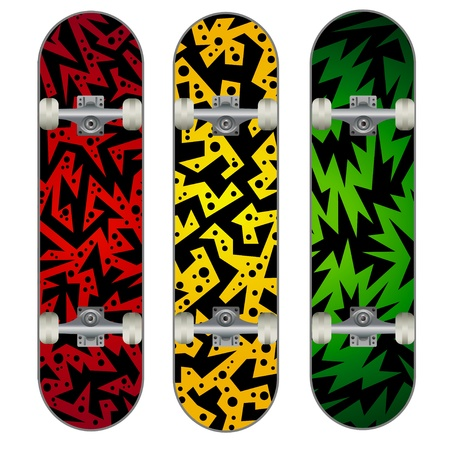 skateboarding tricks: Set of Three Skateboard Designs