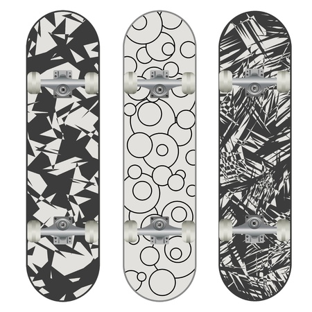Set of Three Skateboard Designs  Vector