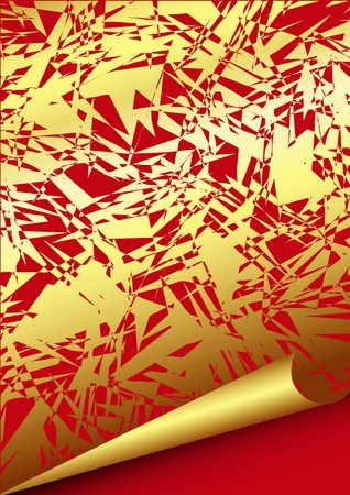 curled edges: Carta oro con bordi arricciati Vettoriali
