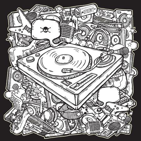 boite a musique: Fond m�lange de musique Illustration