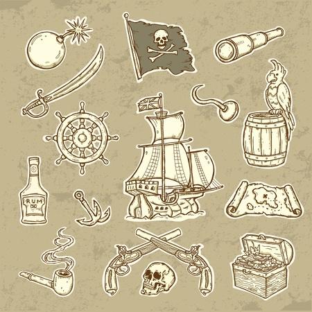 island cartoon: Pirates set  Illustration