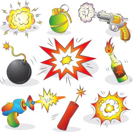 Set of Explosives and Weapon  Vector