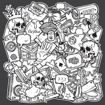 graffiti: Ilustraci�n de la mezcla en el estilo grunge backgroun