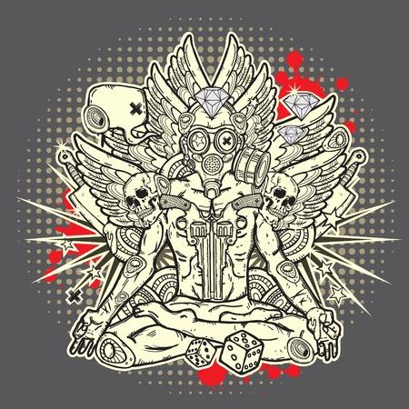cr�nes: Grunge illustration �l�gante