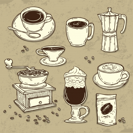 Illustration of coffee set Vector